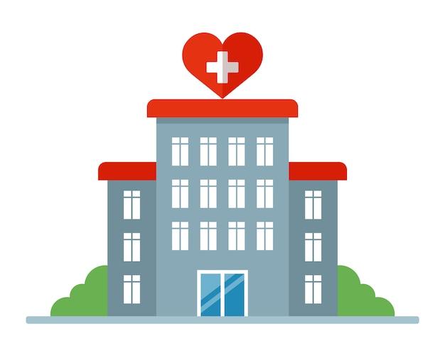 Budynek szpitala ze znakiem serca. szpital położniczy dla kobiet. ilustracja.