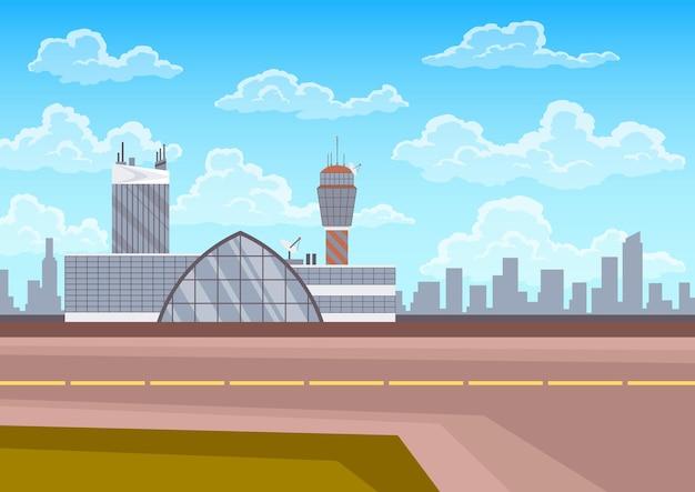 Budynek terminalu lotniska, wieża kontrolna, pas startowy i krajobraz miasta na tle. infrastruktura dla koncepcji podróży i turystyki, pasażerski transport lotniczy.