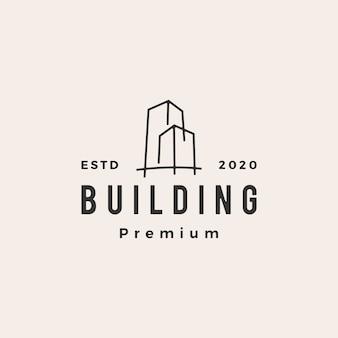 Budynek vintage logo ikona ilustracja