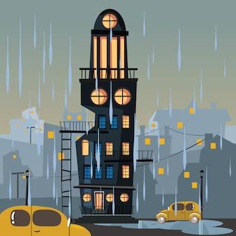 Budynek w deszczowy dzień