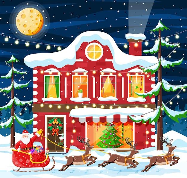 Budynek w ozdobie świątecznej. krajobraz bożonarodzeniowy