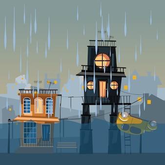 Budynek w wodzie ilustracji wektorowych