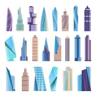 Budynek wieżowca. nowoczesny budynek biurowy apartament miejski, blok mieszkalny domu, zestaw architektury zewnętrznej centrum biznesowego. architektoniczne struktury wieżowca ilustracja