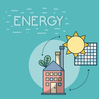 Budynek z energią paneli słonecznych