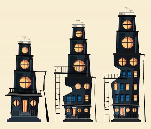 Budynek zestaw ilustracji wektorowych