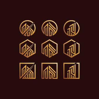 Budynek zestaw logo gradienty kolor