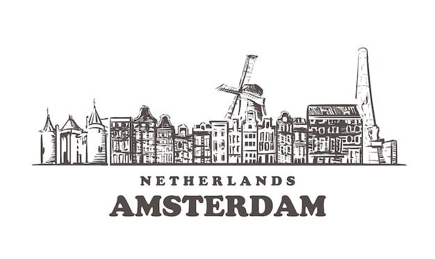 Budynki amsterdamu w holandii