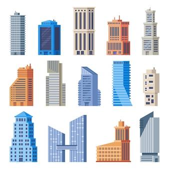 Budynki biurowe miasta. szklany budynek, nowoczesne zewnętrzne biura miejskie i wysokie domy na białym tle zestaw
