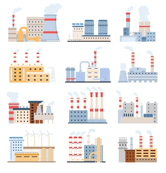 Budynki fabryczne. eko elektrownie z panelami słonecznymi i wiatrakiem, produkcja chemiczna i kompleks przemysłowy. płaskie fabryki wektor zestaw. ilustracja fabryka przemysłowa, produkcja energii