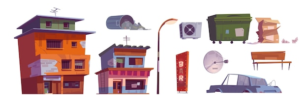 Budynki getta, kosz na śmieci, zepsuty samochód, szyld baru, latarnia uliczna, pudła kartonowe, wentylacja i antena satelitarna, opuszczone zrujnowane stare domy. zniszczona brudna ulica na białym tle kreskówka wektor zestaw