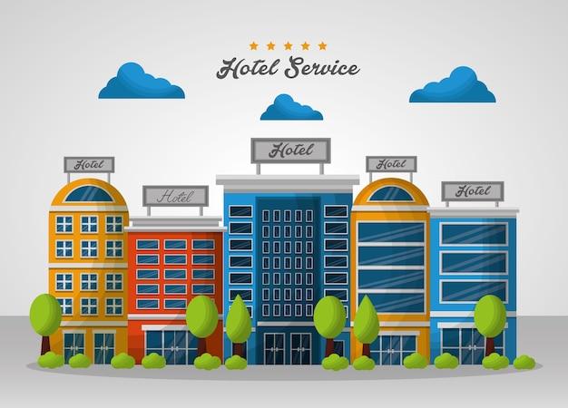 Budynki hotelowe chmury kolorowe ilustracji wektorowych zakwaterowanie