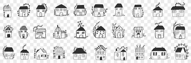 Budynki i domy doodle zestaw. kolekcja ręcznie rysowanych różnych elewacji budowy domów na zakwaterowanie rodzinne na przezroczystym tle