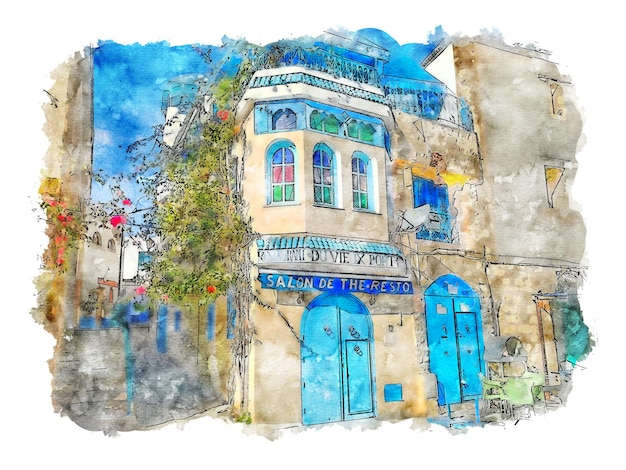 Budynki i ulica akwarela niebieskie drzwi plakat akwarela plakat uliczny grafika ścienna