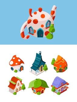 Budynki izometryczne fantasy. bajkowa konstrukcja średniowieczny domek wektor gry obiektów na białym tle. ilustracja 3d izometryczna bajka, dom grzybów, średniowieczny bajeczny dom