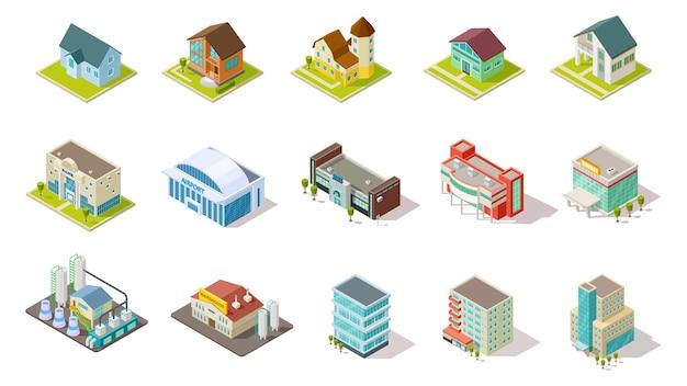 Budynki izometryczne. miejska infrastruktura miejska, budynki mieszkalne, przemysłowe i socjalne zestaw 3d. architektura budynku mieszkalnego, lotnisko domowe, ilustracja izometryczna infrastruktury