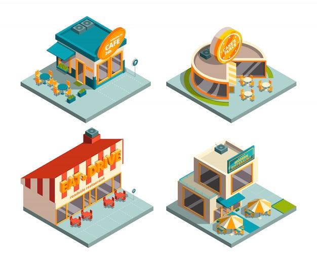 Budynki kawiarni miejskiej. zdjęcia izometryczne