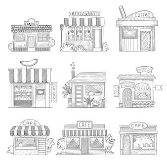 Budynki kawiarni. ręcznie rysowane sklepowe restauracje zestaw małych budynków.
