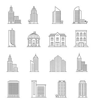 Budynki liniowe. architektura miejska, wieżowce. hotel, uniwersytet i bank, biblioteka miejska linia sztuki centrum budynku ikony wektor zestaw. osiedle architektoniczne, budynek miejski, bank i wieżowiec