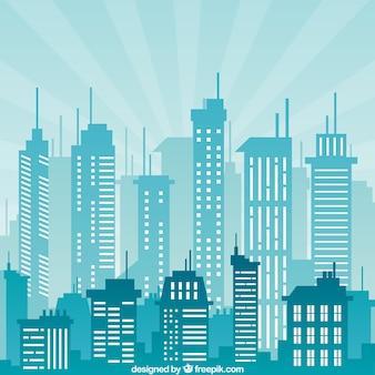 Budynki miejskie w kolorze niebieskim