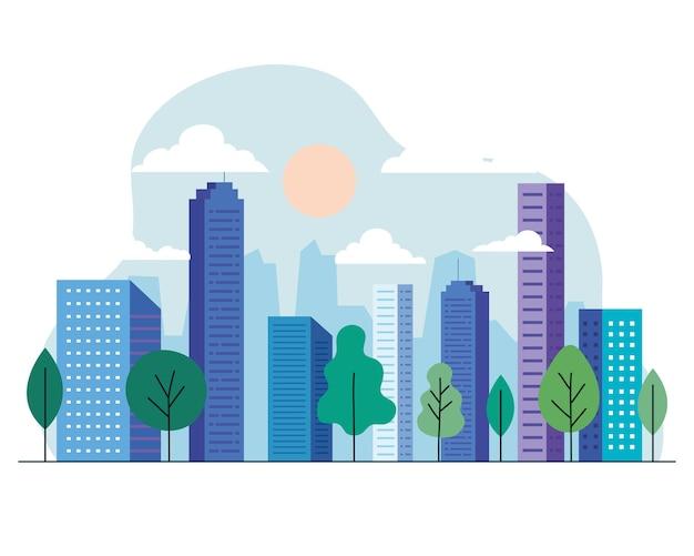 Budynki miejskie z drzewami, słońce i chmury, projektowanie, architektura i motyw miejski