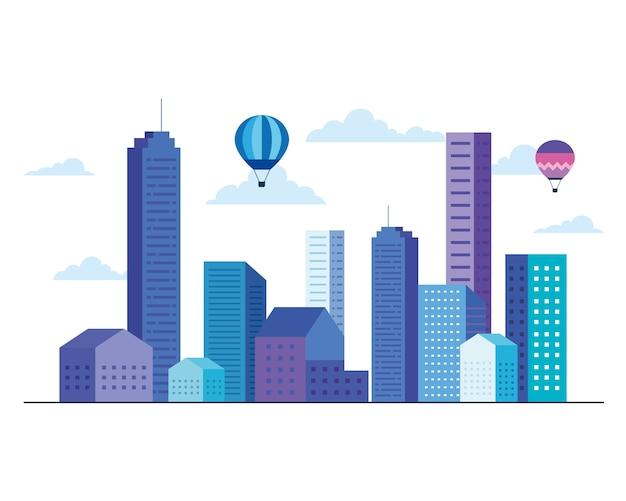 Budynki miejskie z projektowaniem balonów i chmur na ogrzane powietrze, architekturą i motywem miejskim