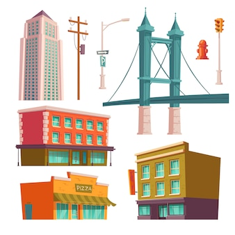 Budynki miejskie, zestaw nowoczesnej architektury mostu