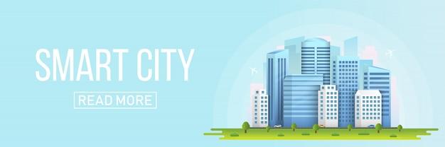 Budynki miejskiego krajobrazu inteligentnego miasta.