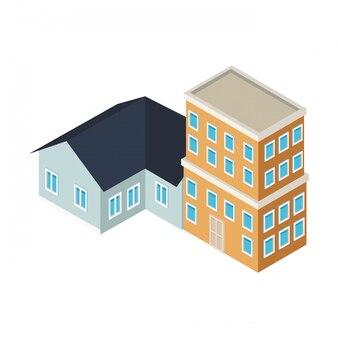 Budynki mieszkalne i mieszkalne są izometryczne