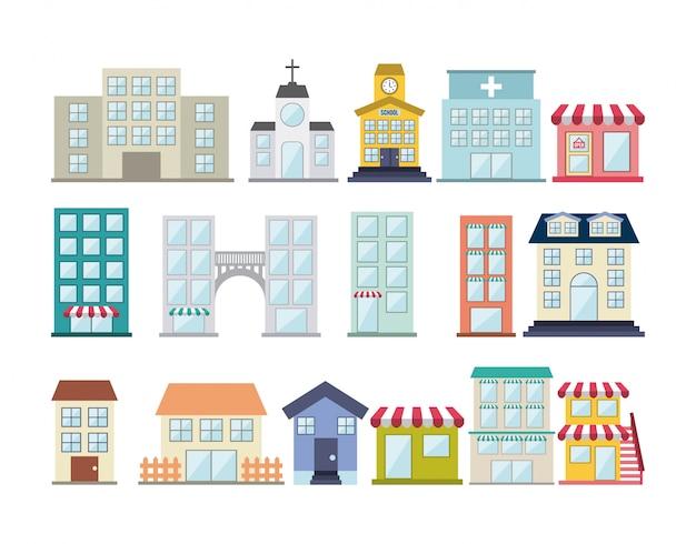Budynki projektują nad białą tło wektoru ilustracją