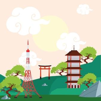 Budynki punkt orientacyjny japoński