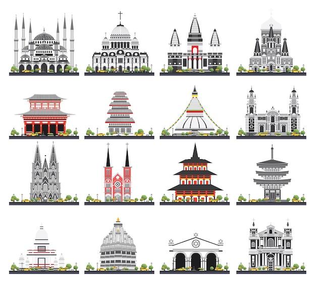 Budynki religijne zestaw na białym tle. ilustracja wektorowa. meczet, świątynia, synagoga, kościół.