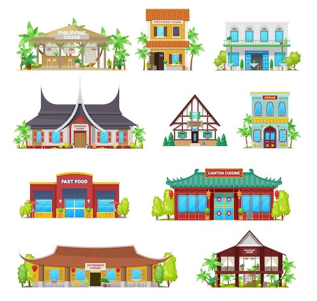 Budynki restauracji kuchni narodowej. filipińska, portugalska i indonezyjska, niemiecka, kebab i fast food, kanton, wietnamska lub malajska tradycyjna architektura, zestaw narodowych kawiarni