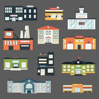 Budynki rządowe kreskówka w stylu płaski. zestaw kolorowych ikon na białym tle. szkoła, szpital, policja, fabryka, lotnisko.