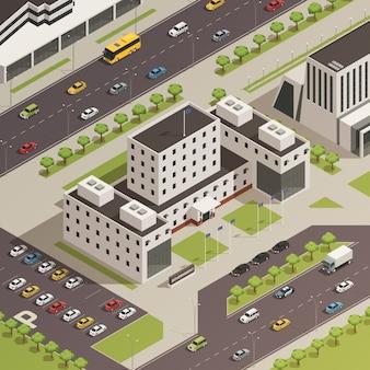 Budynki rządowe miasta izometryczny