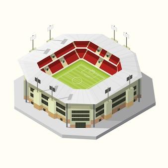 Budynki stadionu ikona piłki nożnej lub piłka nożna izometryczny. ilustracji wektorowych