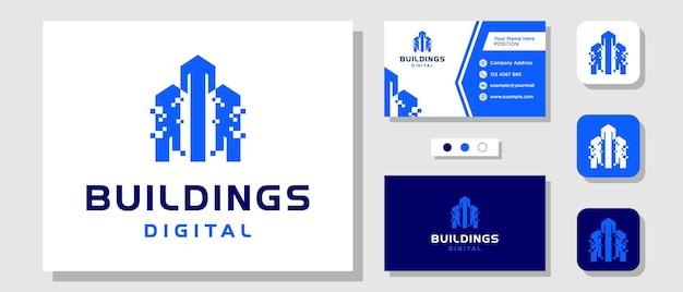 Budynki technologia cyfrowa mieszkanie nieruchomości projektowanie logo miasta z szablonem wizytówki
