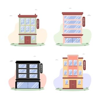 Budynki w płaskiej ilustracji