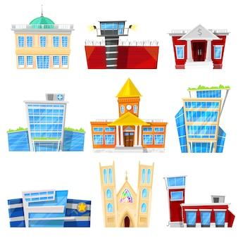 Budynku fasadowy pejzażu miejskiego budynek biurowy, mieszkania miasta banka architektoniczny szpital lub kościół więzienia i hotelu newbuild biznesowa ilustracja odizolowywająca na białym tle