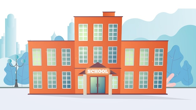 Budynku szkolnego. szkoła w stylu płaski.