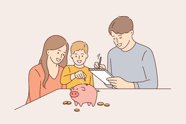 Budżet Rodzinny I Koncepcja Oszczędności Pieniędzy. Premium Wektorów