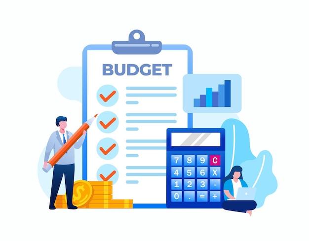 Budżetowe planowanie biznesowe. planowanie finansowe płaskie wektor ilustracja transparent i strona docelowa