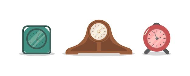Budzik kreskówka dzwoni. rodzaje budzików, zegarów i zegarów zestaw na białym tle. nowoczesne mieszkanie ikona w stylowych kolorach. obudź się rano koncepcja.