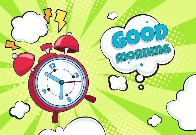 Budzik pop-artu. czas retro kreskówka obudzić odliczanie niespodzianka oglądać zabawny zegar. zegar komiks kreskówka półtonów
