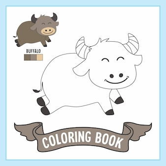 Buffalo animals coloring book pages