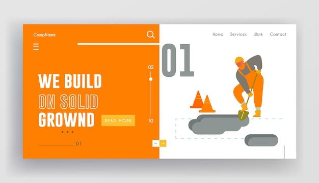 Builder digging soil with shovel website landing page.