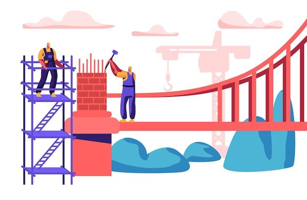 Builder man budowanie mostu z cegieł. grupa inżynierów buduje bramę młotkiem. pracownik w hełmie konstruuje stojącego na drabinie. inżynieria budowlane żuraw płaski kreskówka wektor ilustracja