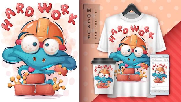 Builder żaba merchandising i koszulka
