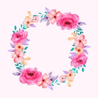 Bujna ilustracja wieniec kwiatowy w stylu przypominającym akwarele