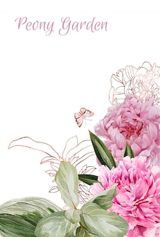 Bujne piwonie, kwiaty i różowo-złote kwiatowe elemety