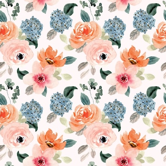 Bujny brzoskwiniowy niebieski kwiat akwarela bezszwowe wzór